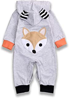 Halloween Newborn Baby Boys Girls Fall Rompers 3D Fox Costume Hoodie Bodysuit Clothes Outfits Set