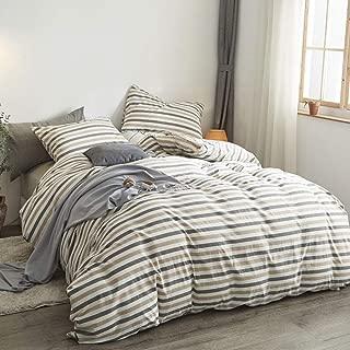 ATsense Duvet Cover King, 100% Washed Cotton, 3-Piece Bedding Duvet Cover Set, Simple Style Farmhouse Bedding Set with Zipper Closure&Corner Ties (Coffee J8001)