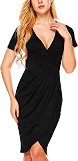 ANGVNS Womens Deep V Neck Asymmetrical Bodycon Wrap Ruched Dress with Front Slit