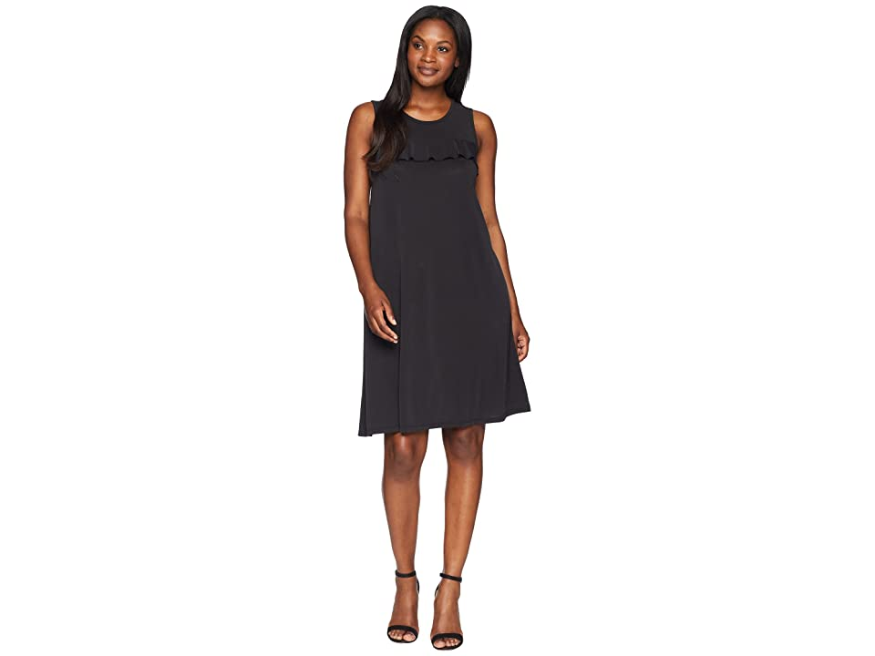 Mod-o-doc Sandwashed Modal Jersey Ruffle Seamed Tank Dress (Black) Women