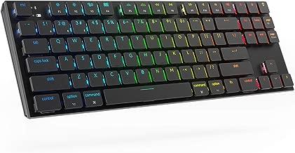Keychron K1 Ultra-Thin RGB Wireless Bluetooth/USB Wired TKL Mechanical Gaming Keyboard, RGB LED Backlit Low Profile Blue Switches for Mac Windows, 87 Keys N-Key Rollover Black, Version 2