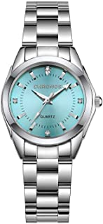 Women Girls Silver Stainless Steel Quartz Waterproof Watch Fashion Classic Round Analog Watch with Light Blue Dial
