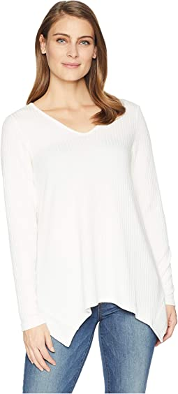 Long Sleeve V-Neck Ribbed Flare Top