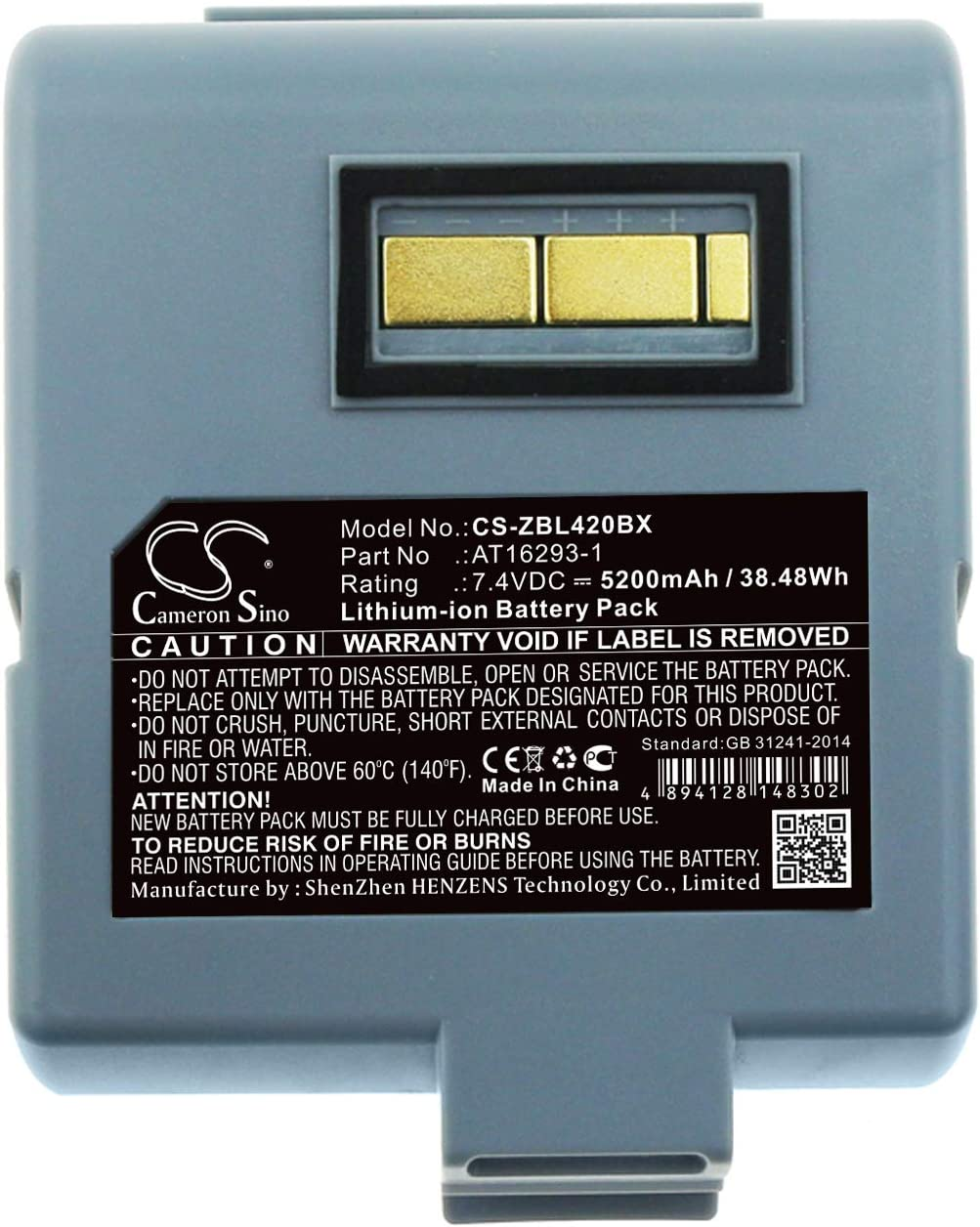 Replace Battery for Zebra Max Spring new work one after another 68% OFF AT16293-1 QL420 to Applicable P