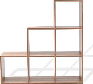 Rebecca Mobili Estante de Suelo marrón, librería Escalera marrón, 6 compartimientos, Madera, para organizar hogar y Oficina- Medidas: 97,5 x 97,5 x 29 cm (AxANxF) - Art. RE6043