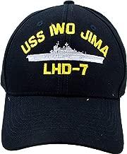 U.S. Navy USS Iwo Jima LHD-7 embroidered baseball cap. Made in USA