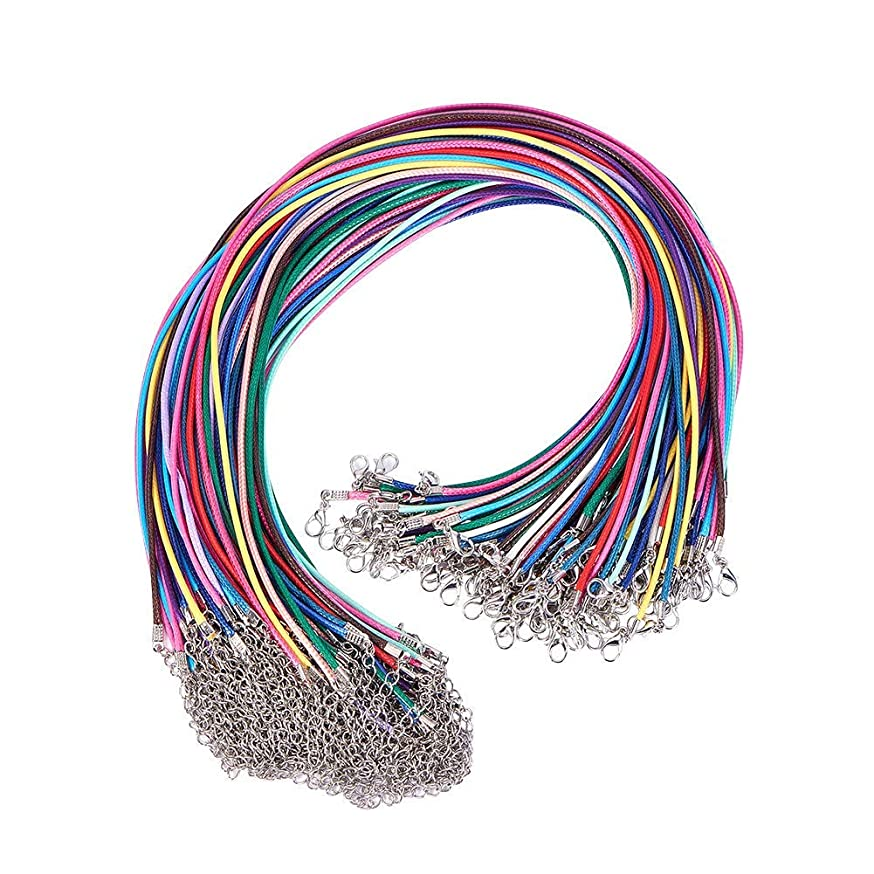 PandaHall Elite 0.06inch Mix Color Waxed Cotton Beading Cord with Lobster Claw Clasps for Necklace Making 100 Strands a Pack