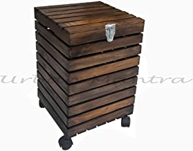 UrbanMantra Wooden Laundry Basket with Wheels | Storage Basket | Walnut Brown