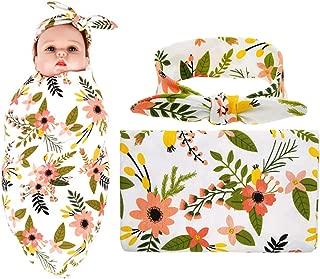 Newborn Receiving Blanket Headband Set Flower Printing Photography Prop Swaddle Baby Receiving Blankets