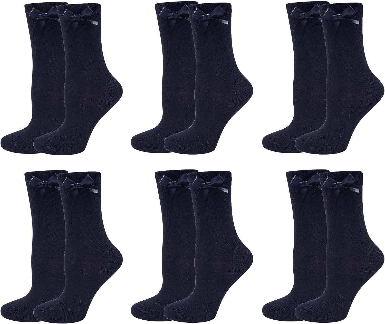 Sock Stack Girls Bow Ankle Socks Short White Grey Black Ribbon Ankle School Sock Back To School 6 Pairs