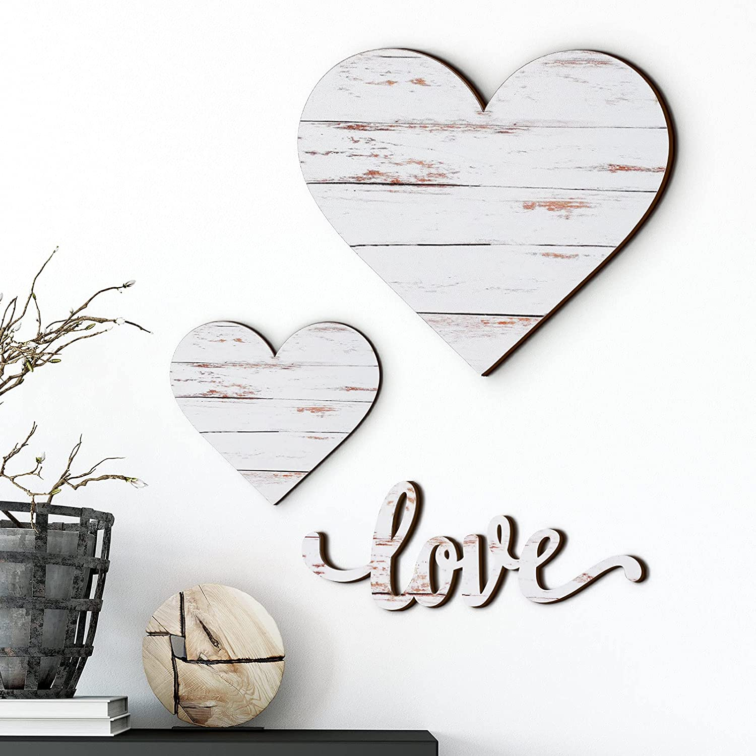 Chitidr 3 Pieces Heart Shaped Wood Sign Heart-Shaped Wooden Wall Sign Wood Heart Wall Decor Rustic Hanging Sign Wooden Heart Plaque for Home Farmhouse Living Room Bedroom (White)