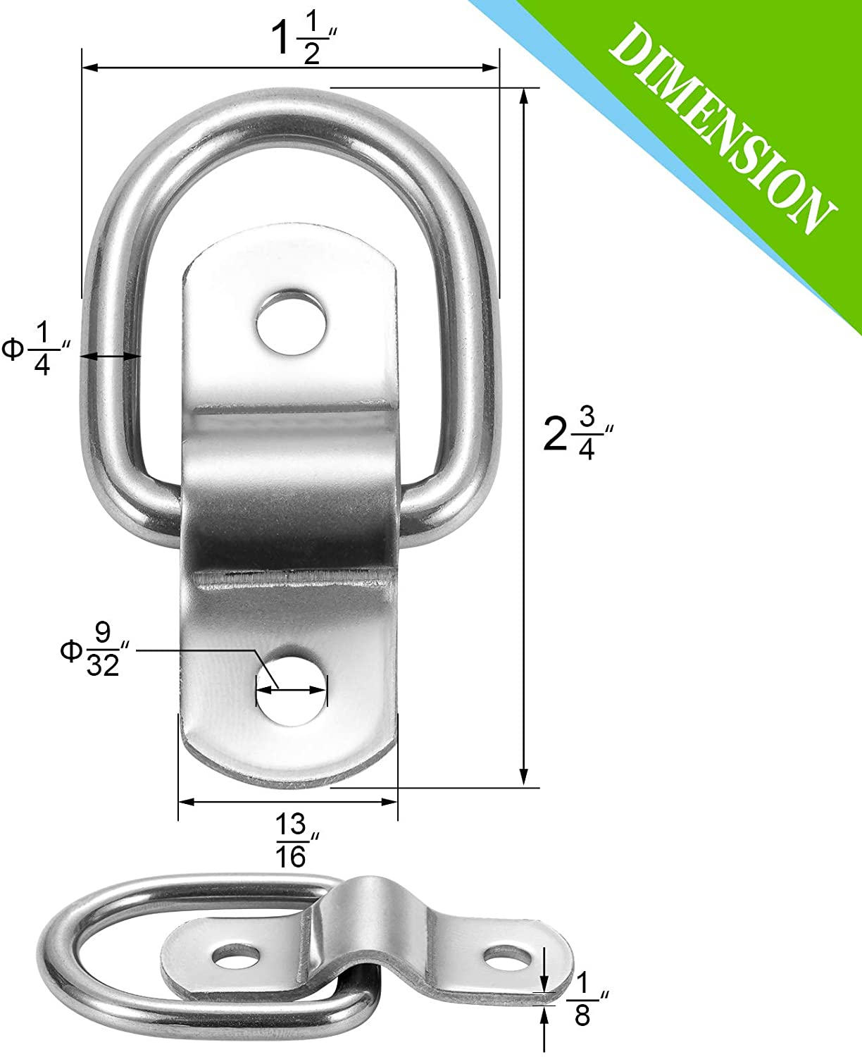 Trailer CZC AUTO 6 Pack D Ring Tie Down Anchors 1//4 Heavy Duty Stainless Steel Trailer Tie Down Hooks for Truck Cargo Control /& Surface Mount with Screws Boat Warehouse Camper