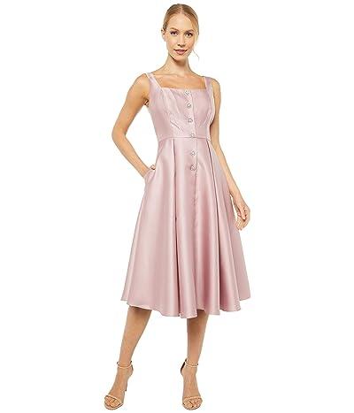 Adrianna Papell Mikado Tea Length Dress with Button Detail (Aurora Pink) Women