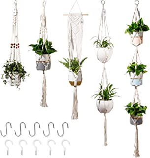 POTEY 650101 Macrame Plant Hanger - Hanging Planters Indoor Outdoor Handmade Cotton Rope Plant Hanger Hanging Plant Flower Pots Holder Boho Home Decor 5-Pack 35