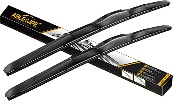 "ABLEWIPE Windshield Hybrid Wiper Blades 24"" + 18"" Front Window Windshield U/J Hook Wiper Blades Model 19E28-B (Set of 2): image"