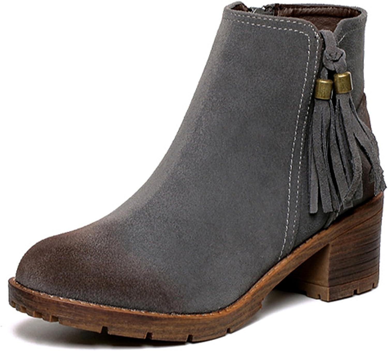 HERRICO Womens Tassels Block Heeled Ankle Boots