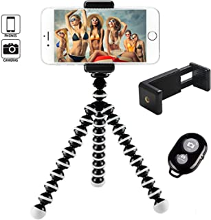 Hi-tec Octopus Style Portable and Adjustable Tripod Stand Holder for iPhone, Cellphone,Camera with Universal Clip and Remote (Black White)
