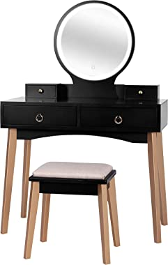 VEIKOUS Vanity Dressing Set with Round 3-Color Lighted Mirror and Cushioned Bench for Ladies,Makeup Dressing Table with 4 Dra