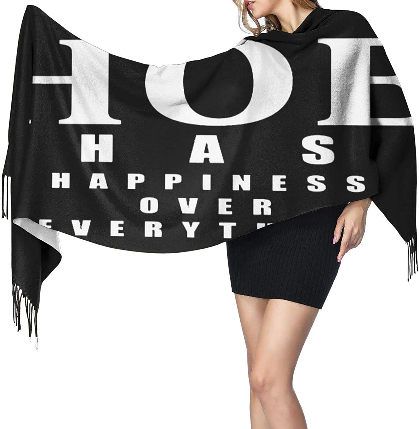 Cashmere fringed scarf Hoe Hapiness Over Everything winter extra large scarf