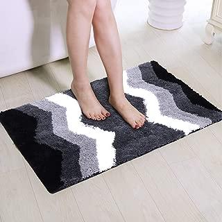 Bath Rug for Bathroom, Artiron Luxurious Shaggy Floor Mats Plush Non Slip Machine Washable Soft Microfiber Carpet for Tub Shower Black Bathroom Mat (20 x 31 Inch, Gray Chevron)
