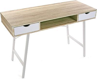 Versa Dereham Bureau Informatique Poste de Travail Table d'étude pour Ordinateur, avec 2 tiroirs, Dimensions (H x l x L) 76 x 48 x 120 cm, Bois et métal, Couleur: Marron