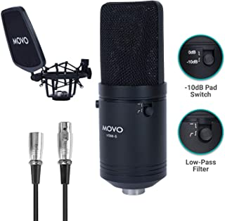 Movo VSM-5 Large Diaphragm XLR Studio Cardioid Condenser Microphone with Shock Mount, Pop Filter, and XLR Cable - Ideal Mic for Vocals, Podcasting, Streaming, Broadcasting, ASMR, and More