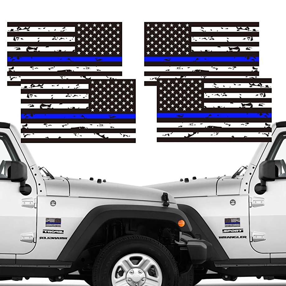 CREATRILL Reflective 2 Pairs Tattered Thin Blue Line Reverse Forward US Flag Decal Stickers for Cars, Trucks, Hard Hat, 5 x 2.7 inch American USA Flag Bumper Sticker Honoring Police Law Enforcement