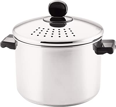Farberware Classic Series Stainless Steel 8-Quart Covered Straining Stockpot with Lid, Stainless Steel Pot with Lid, Silver