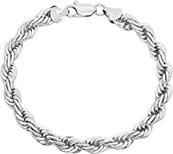 Dubai Collections Gold Rope Bracelet 6MM, 24K Overlay Premium Fashion Jewelry, Guaranteed for Life, 7-9 Inches