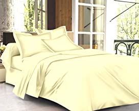 Trance Home Linen 100% Cotton 400TC Plain Queen Fitted Bedsheet with 2 Pillow Covers - Ivory