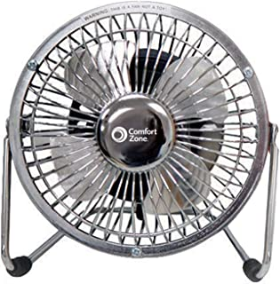 Comfort Zone CZHV4S Quiet Dual-Powered 4-inch High-Velocity Portable Fan with Adjustable Tilt, Silver