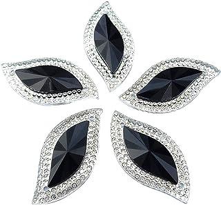 Succi Shan brilhante 50 peças em forma de S pedras pretas brilhantes costuradas com strass botões lisos para roupas de fan...