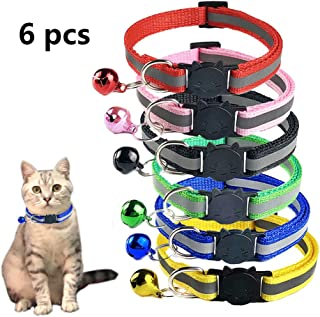 TCBOY Breakaway Cat Collar with Bell, Mixed Colors Reflective Cat Collars - Ideal Size Pet Collars for Cats or Small Dogs(6pcs/Set)