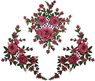 1set 3D Flower Embroidery Applique Lace Fabric Patches for Dress Garment Decorated DIY Sewing Accessories T2579 (Rose Carmine)