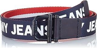 حزام Tommy Hilfiger للرجال TJM Roller Webbing 3.5 ذو وجهين، متعدد الألوان (أسود / برتقالي 901)