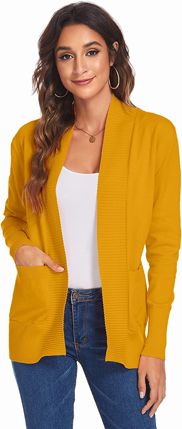 Newchoice Womens [Alternative dealer] Lightweight Long Sleeve Front Open Knit Cardiga National products