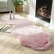 Ashler Soft Fox Faux Fur Chair Couch Cover Area Rug for Bedroom Floor Sofa Living Room Pink White- 2 x 6 Feet