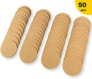 Natural Cork Coasters With Round Thick,Plain Absorbent Heat-Resistant Reusable Saucers for Cold Drinks Wine Glasses Plants Cups & Mugs (Round 90mm×3.5mm)