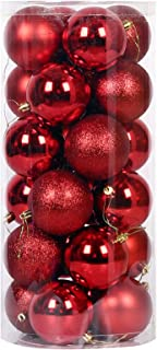 Christmas Tree Baubles Red, 24pcs Baubles Christmas Decorations with Strings, Shatterproof Seasonal Hanging Balls, Colored...