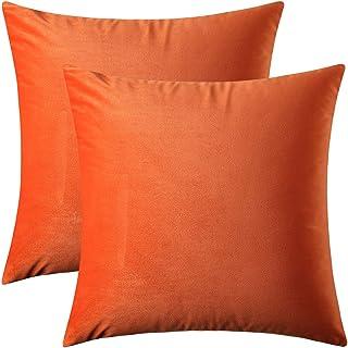 Artcest Set of 2, Cozy Solid Velvet Throw Pillow Case, Decorative Couch Cushion Cover, Soft Sofa Euro Sham with Zipper Hidden, 18x18 (Burnt Orange)