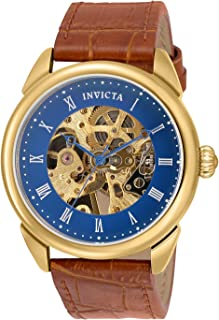 Invicta Men's Specialty Stainless Steel Mechanical Hand Wind Watch with Faux Leather Strap, Brown, 22 (Model: 30724)