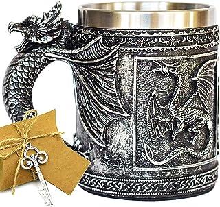 Medieval GOT Dragon D&D Game Mug of Thrones Merchandise Beer Steins Viking Tankard Mug Stainless Coffee Cup Gift Mug for D...