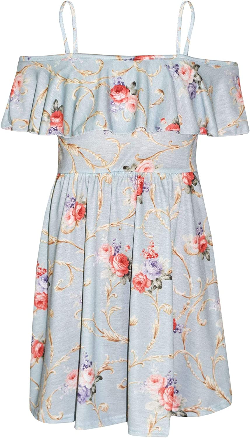 Fashion Girls Skater Dress Kids Floral Print Summer Party Dresses Age 6-12 Years