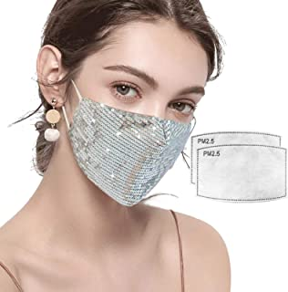 Auriviz Sparkly Glitter Face Mask for Women, Bling Sequin Masquerade Party Mask Black with Filters for Nightclub Halloween