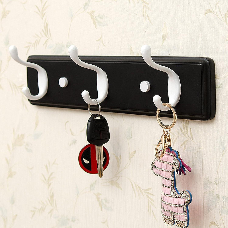 AO-Hook Coat Hook Wall Door Hook Storage Rack Creative Woodiness Coat Rack (color   Black, Size   6 Hooks)