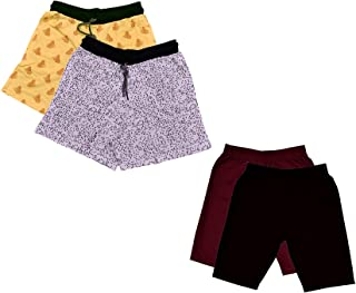IndiWeaves Women's Combo Pack of Cotton Printed Shorts and Cycling Shorts (Pack of 4)