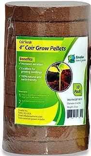 Coco Coir 4-Inch Seed Starter Pellets, Coconut Coir Grow Discs - 10 Pack (10, 4