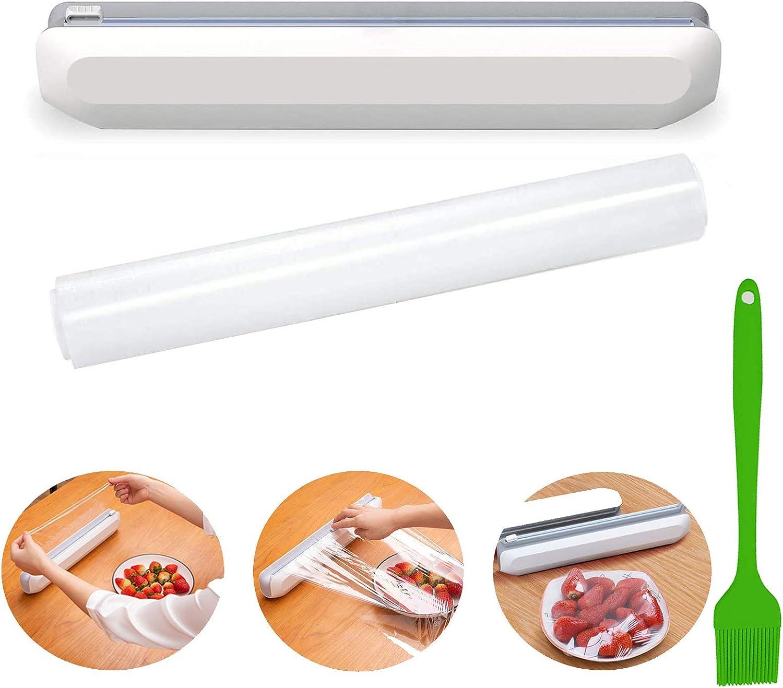 Plastic Wrap Dispenser with Slide Cling Reusable Cutter 開店記念セール Wr Film 売り出し