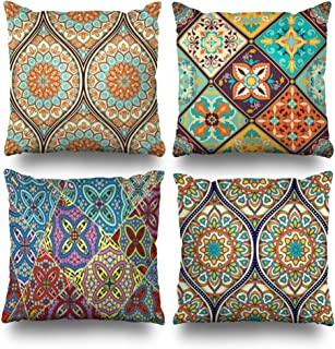 Suesoso Decorative Pillows Case 20 X 20 Inch Set of 4,Ethnic Mandala Ornament Throw Pillowcover Cushion Decorative Home Decor Nice Garden Sofa Bed Car(Mandala Ornament)