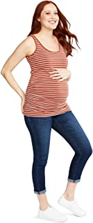 Motherhood Maternity Women's Maternity Indigo Blue Side Panel Roll Hem Crop Denim Jean